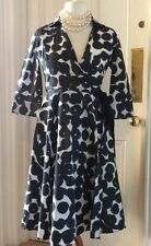 ZARA BLACK AND WHITE 1950's STYLE WRAP DRESS, SIZE M