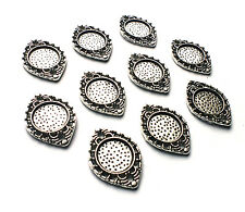10 Silver Plate Oval/Round Frame/Cabochon Tray Charm Connector Setting Steampunk