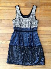 Madewell Sequin Dress Blue Blk Silver Color Block Party Tank $198 Sz 4 PERFECT