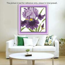 Counted Cross Stitch Kits Embroidery Set 14CT Purple Flowers 36*36cm Home Decor
