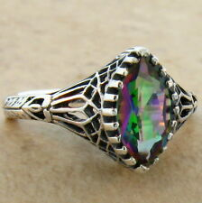 HYDRO MYSTIC QUARTZ ANTIQUE DESIGN 925 STERLING SILVER RING SIZE 9,  #711