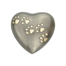 Golden Paw Prints on Pewter Pet Dog Cat Heart Urn Keepsake Ashes Cremation