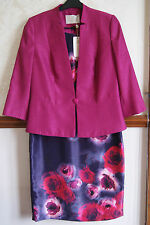 Jacques Vert Dress Jacket Deep Pink Floral Outfit Wedding Mother Bride BNWT 12