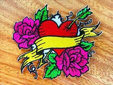 Arrow Through Heart Roses Punk Rock Embroidered Iron on Patch