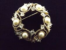 Monet Gold Pearl Clear Rhinestone Wreath Brooch Pin