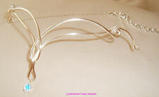 Fantasía Plata Simple Celta Cristal headress circlet handfasting Boda De Los Elfos