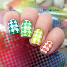 Nail Art Transfer Foil Sticker Holographic Holo Colorful Block Tips Decoration