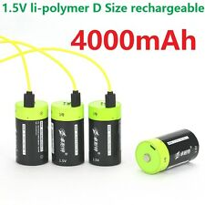 4pcs ZNTER 1.5V 4000mAh D Size Rechargeable Lithium Battery + USB charging cable