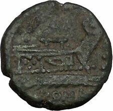 Roman Republic Quadrans Hercules Prow of Galley Ship Ancient Coin 130BC i45106