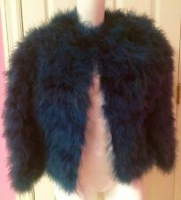 Rare '80's YSL Rive Gauche Petrol Blue Marabou Feather Chubby Jacket One Size