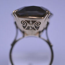 VTG 18K YELLOW GOLD HUGE OVAL 24 CARAT SMOKY QUARTZ OPENWORK SETTING RING SIZE 6
