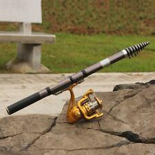2.4M Portable Carbon Fiber Telescope Fishing Rod Travel Spinning Pole 8 Sections