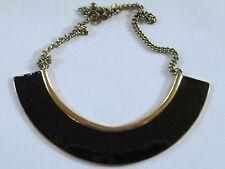 VINTAGE ENAMEL BIB necklace black gold tone adjustable estate VGUC