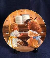 Vintage Sandra Kuck Afternoon Recital Girls Playing Piano Cat Collector Plate 9""