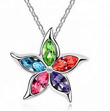 Popular Womens 9k White Gold Filled AAA CZ& Crystal Necklace with Pendant I68-70