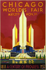 """Chicago World's Fair Lakefront Northerly Island 1933 USA 12x8"""" Retro Poster"""