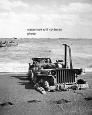"US Jeep sunk in the sand on Iwo Jima  8""x 10"" World War II Photo Picture #45"