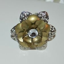 Brass Silver Simple Flower Finger Ring Elastic Moveable