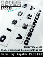 Land rover DISCOVERY 3D Bonnet Letters Badges Letterings GLOSS BLACK 3 4 Rear