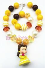 Cartoon Belle princess chunky bubblegum kids necklace&bracelet setCB199