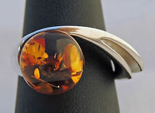 PRETTY UNIQUE AMAZING ESTATE STERLING SILVER AMBER SPHERE RING SIZE 8