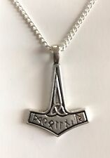 "VIKING THOR's HAMMER MJOLNIR Charm PendanT Necklace 20"" Silver Plated chain Gift"