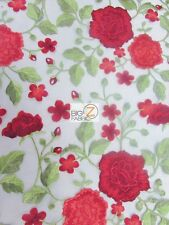 SUMMER ROSE FLOWER EMBROIDERY LACE FABRIC - Red - BY YARD DRESS BRIDAL DECOR