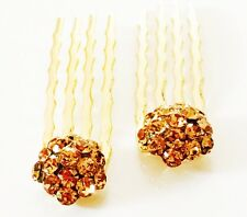 Double Accent Mini Hair Comb Small using Swarovski Crystal Bridal Amber Yellow
