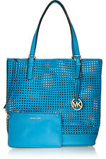MICHAEL KORS AZUR BLUE LASER CUT LEATHER TOTE BAG WITH ADDITIONAL ZIPPED POUCH