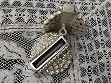 bottone gioiello ARGENTO NERO STRASS SWAROVSKY vintage BUTTONS BOUTON