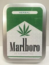 Herbal Leaf Retro Funny Advertising Cigarette Tobacco Storage 2oz Hinged Tin