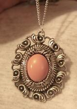 Swirl Seashells Rim Peachy Pink Line-Beveled Oval Silvertone Pendant Necklace