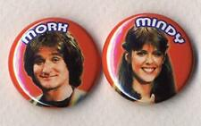 MORK AND MINDY Badge Button Pins - two badge set!