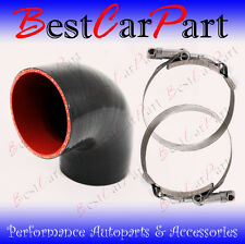 "BLACK Silicone 90 Degree Elbow Coupler Hose 2.5"" 63 mm + T-Bolt Clamps Chy"