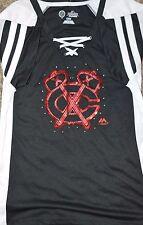 Chicago BLACKHAWKS Women's Vintage Hockey Lace Up Shirt Shiny MSRP $50 Majestic