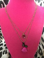 Betsey Johnson Vintage Vampire Slayer Fuchsia Pink Rose Heart Charm Necklace