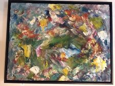 Vintage Abstract Expressionist Original Oil Painting Framed Midcentury Modern