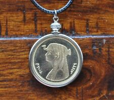 Egypt Queen Pharaoh Cleopatra Authentic 50 Piastres Coin Pendant Necklace
