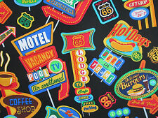 RETRO SIGNS MOTELS ROUTE 66 DINER HISTORY SIGNS COTTON FABRIC 13 Inch Scrap Cut