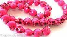 Howlite Beads Dyed HOT PINK Day of Dead Skull A050-22 9x7.5x9mm 15.5 inch