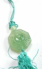 Vintage Natural Jade Stone Ba Gua Bagua Luck Hand Carve Feng Shui Charm Hanging