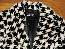 EXPRESS Houndstooth Coat PLUSH Faux Fur size 9 10