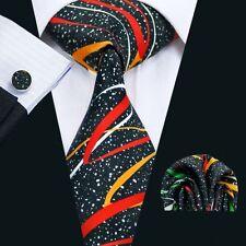 Schwarz Bunt Rot Gelb Grün Seide Krawatte Set Einstecktuch Knöpfe Breit K203