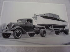 1934 CHEVROLET  TRUCK HAULING BIG OLD BOAT 12 X 18 LARGE PICTURE / PHOTO