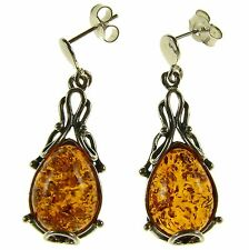 ORANGE BALTIC AMBER STERLING SILVER 925 DROP DANGLING STUD EARRINGS JEWELLERY