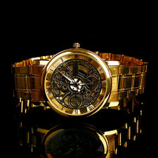 Luxury Men's Mechanical Stainless steel Analog Quartz Wrist Watch Sport Gold