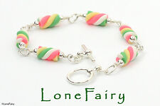 Polymer Clay Flump Marshmallow Silver Plated Food Bracelet Made to Size Order