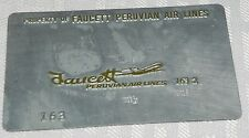 Rare Vintage Faucett Peruvian Air Lines Metal Ticket Validation Plate Travel