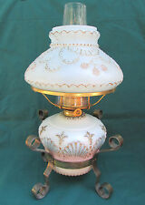 Antique Oil Lamp Complete w/ Shade & Metal Stand P&A Sea Shell Milk Glass 1894