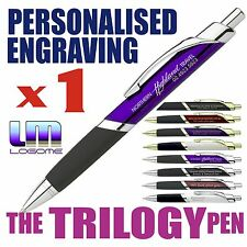 1 x Custom Engraved Deluxe TRILOGY Metal Pen Personalised Business Gift Promo